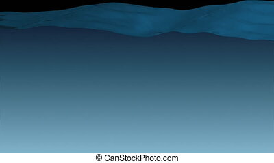 Cartoon Beautiful Water Surface Moving Up Waving. Clear Blue Water Filling the Screen