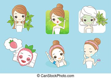 cartoon beautiful young woman