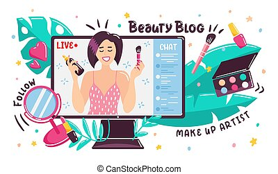 Cartoon beauty blogger broadcasting online from computer ...