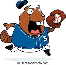 Cartoon Beaver Baseball