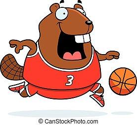Cartoon Beaver Basketball