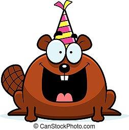 Cartoon Beaver Birthday Party