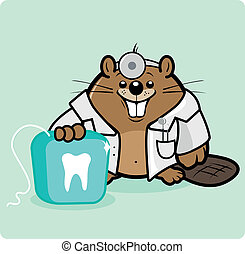 Cartoon beaver dentist