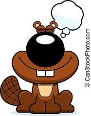 Cartoon Beaver Dreaming