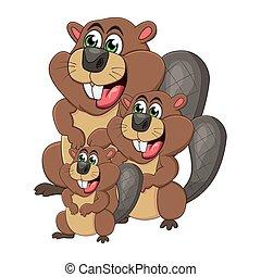 Cartoon beaver family isolated on white background