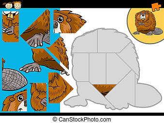 cartoon beaver jigsaw puzzle game