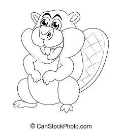 Cartoon beaver outline isolated on white background