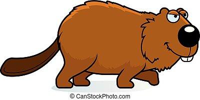Cartoon Beaver Stalking