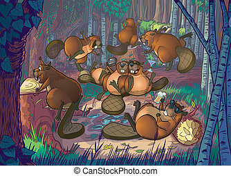 Cartoon Beavers Party in A Forest - Vector Cartoon...