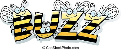 Cartoon Bee Buzz - A cartoon illustration of the word buzz...