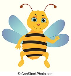 Cartoon bee character isolated on the white background.