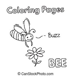 Cartoon Bee Coloring Book