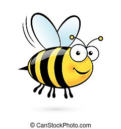 Cartoon Bee - Illustration of a Friendly Cute Bee Flying and...