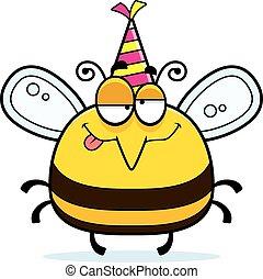 Cartoon Bee Drunk Party - A cartoon illustration of a bee...
