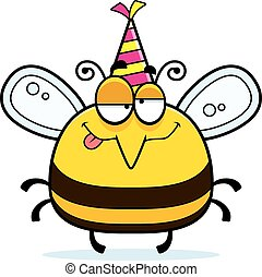 Cartoon Bee Drunk Party - A cartoon illustration of a bee...