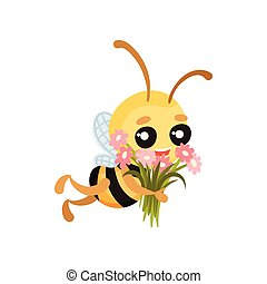 Cartoon bee flies with a bouquet of flowers in their hands. Vector illustration.