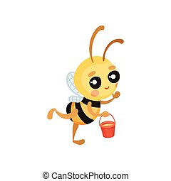 Cartoon bee flies with a bucket of honey in his hands. Vector illustration.