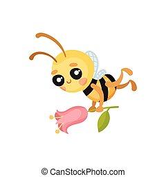 Cartoon bee flies with a flower in his hands. Vector illustration.