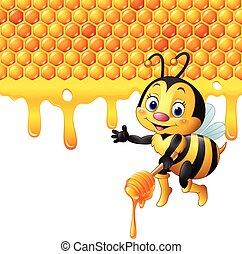 Cartoon bee holding dipper honey - Vector illustration of...