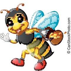 Cartoon bee holding pot of honey