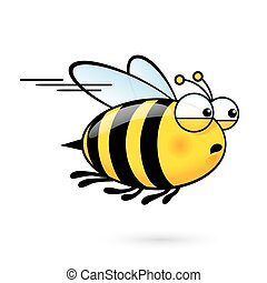 Cartoon Bee - Illustration of a Friendly Cute Bee a Hurry to...