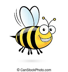 Cartoon Bee - Illustration of a Friendly Cute Smiling Bee