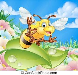 Cartoon Bee in Meadow
