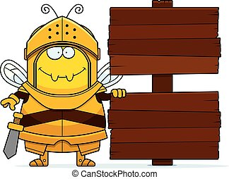 Cartoon Bee Knight Sign