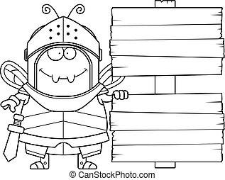 Cartoon Bee Knight Sign