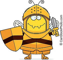 Cartoon Bee Knight Sword