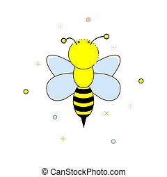 Cartoon bee on a white background. Vector illustration.