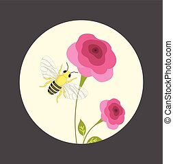 Bee on Flower - Cartoon Bee on Flower Vector Illustration