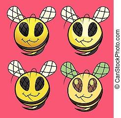 Cartoon Bee Smiley Set