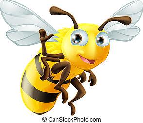 A cute cartoon bee mascot waving