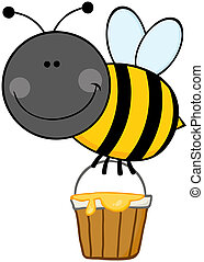 Cartoon Bee With A Honey Bucket