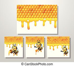 Cartoon bee with honeycomb collections set