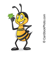 Cartoon bee with money - Cartoon bee holding a bundle of...