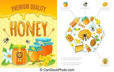 Cartoon Beekeeping Colorful Concept