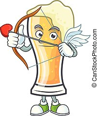 Cartoon beer glass with the cupid character