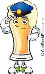 Cartoon beer glass with the police character