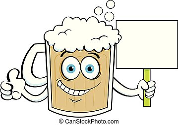 Cartoon beer mug giving thumbs up while holding a sign.