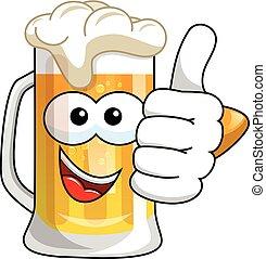 Cartoon beer mug thumb up isolated