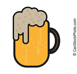 Cartoon beer mug vector on a white background