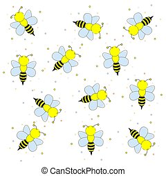 Cartoon bees flying. Vector illustration on a white background.