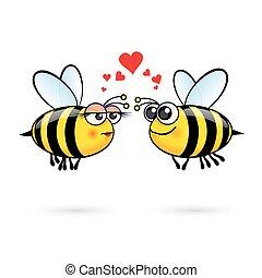 Cartoon Bees - Cute Cartoon Bees in Love. Illustration on...