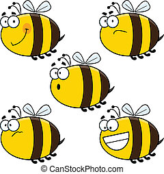 Cartoon Bees Set - Set of cute cartoon bees.