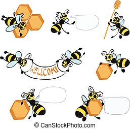 cartoon bees with honeycomb - Cartoon bees with honeycombs. ...
