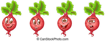 Cartoon Beet. Beetroot. Vegetable Food Collection
