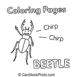 Cartoon Beetle Coloring Book