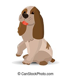 Cartoon beige color dog, sitting holding up a paw, on a white background